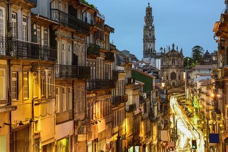 porto: Porto, Portugal cityscape towards Clerigos Church. Stock Photo