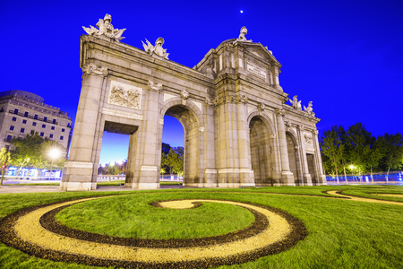 spanish culture: Madrid, Spain at Puerta de Alcala gate.