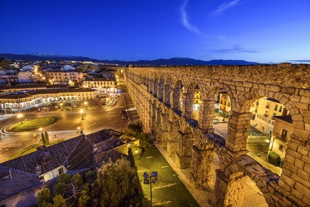 segovia: Segovia, Spain at the ancient Roman aqueduct. Stock Photo