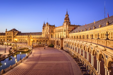seville: Seville, Spain at Spanish Square (Plaza de Espa–a). Stock Photo