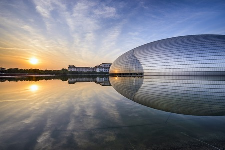 famous people: BEIJING, CHINA - JUNE 24, 2014: National Centre for the Performing Arts. The futuristic design stirred controversy when the theater was completed in 2007.