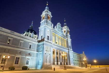 Madrid, Spain at La Almudena Cathedral at night. photo
