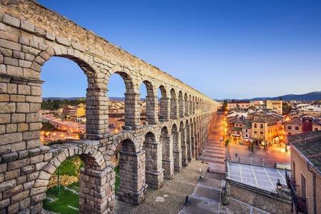Segovia, Spain at the ancient Roman aqueduct. Stock Photo