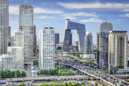 中国北京市金融街のスカイライン。 写真素材
