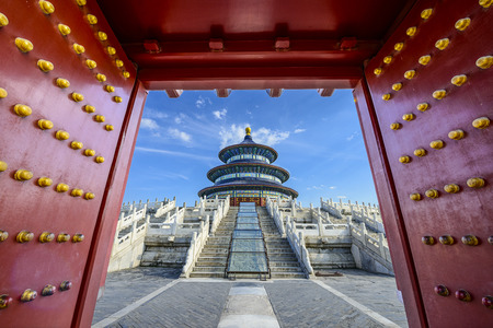 historical sites: Temple of Heaven gateway in Beijing, China. Editorial
