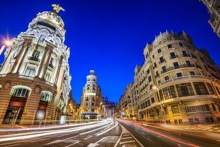 gran via: Madrid, Spain cityscape on Gran Via at twilight. Stock Photo