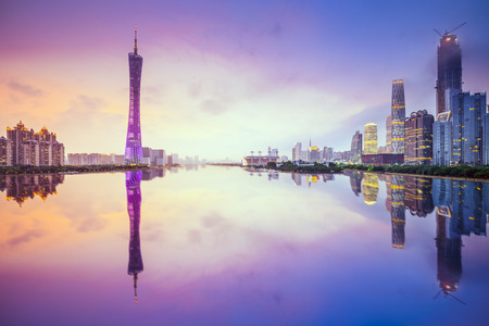 Guangzhou, China city skyline on the Pearl River. Stock Photo