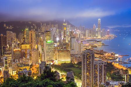 Hong Kong, China city skyline from Braemer Hill. photo