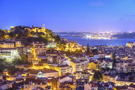 jorge: Lisbon, Portugal skyline at Sao Jorge Castle.