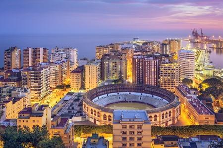 plaza de toros: Malaga, Spain cityscape on the Mediterranean Sea.