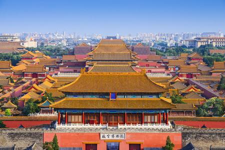 紫禁城に北京、中国の街のスカイライン。