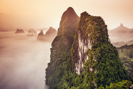 alp: Karst Mountains of Xingping, China. Stock Photo