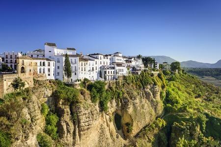 andalucia: Ronda, Spain buildings on the Tajo Gorge.