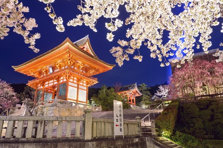 flor de sakura: Kyoto, Japón en Kiyomizu-dera Santuario en la primavera. Editorial