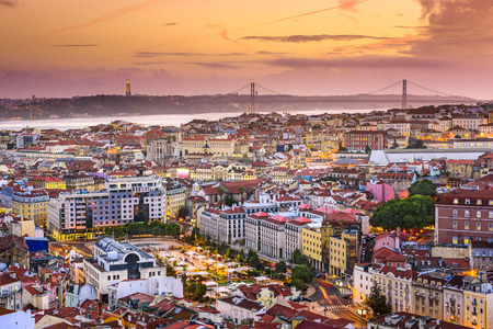 lisbon: Lisbon, Portugal skyline at night. Stock Photo