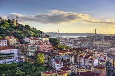 리스본, 포르투갈 상 호르헤 성에서 스카이 라인.