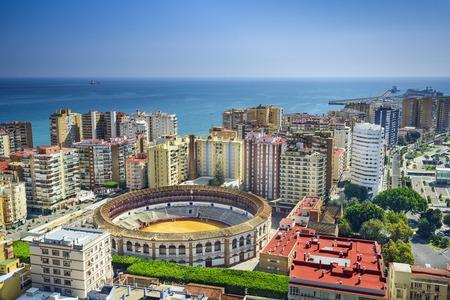 Malaga, Spanje stadsgezicht bij de arena.