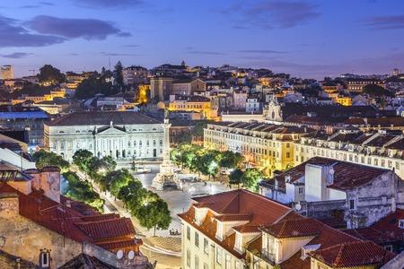 lisboa: Lisbon, Portugal skyline view over Rossio Square. Editorial