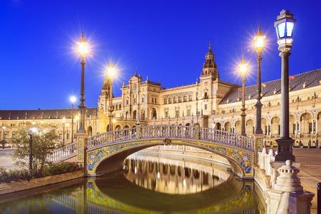 Sevilla, Spanje op Spaanse Square (Plaza de Espana). Redactioneel