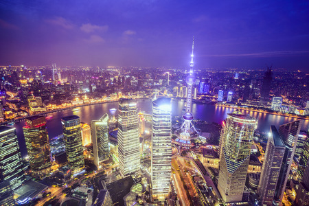 shanghai night: Shanghai, China City Skyline view over the Pudong Financial District. Stock Photo
