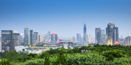 Shenzhen, China civic center city skyline. 스톡 콘텐츠