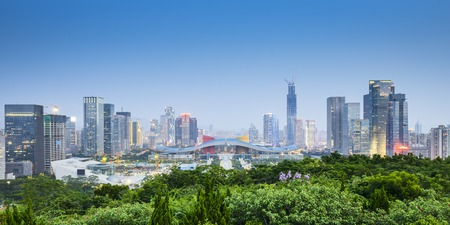 Shenzhen, China civic center city skyline. Stock Photo