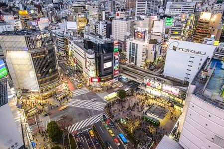 paso de peatones: TOKIO - 10 de enero 2013: Vista del paisaje urbano sobre el cruce de Shibuya. Shibuya es un centro de la moda y la vida nocturna famosa zona.