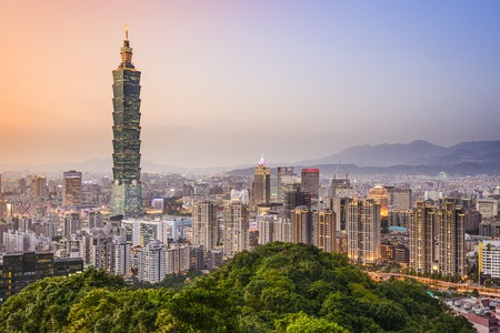 landmarks: Taipei, Taiwan city skyline at dusk.