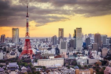 도쿄, 일몰 일본 풍경입니다.
