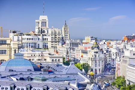 Madrid, Spain cityscape over Gran Via. Stock Photo