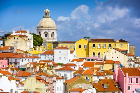 the old architecture: Lisbon, Portugal skyline at Alfama, the oldest district of the city with the National Pantheon.