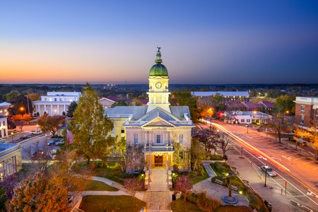 small town: Athens, Georgia, USA downtown cityscape at city hall. Stock Photo