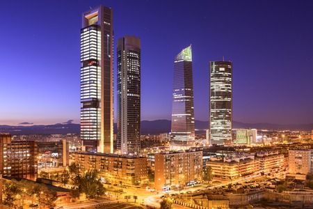 Madrid, Spain financial district skyline at twilight. photo