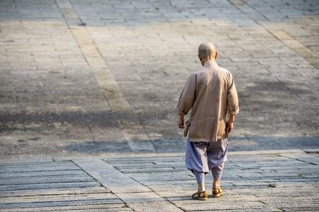 buddhist monk: Buddhist monk walking down an incline.