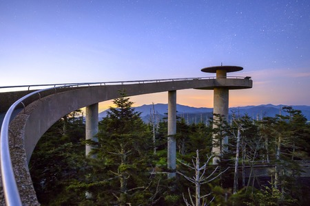 appalachian mountains: Clingmans Dome mountaintop observatory in the Great Smoky Mountains, Tennessee, USA. Stock Photo