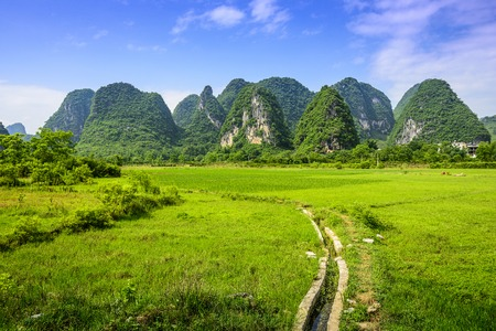 karst: Karst Mountain landscape in rural Guilin, Guangxi, China.