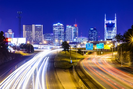 highway lights: Nashville, Tennessee, USA downtown skyline and highway.