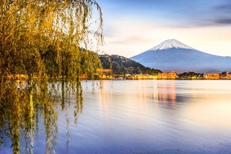 kawaguchi: Mt. Fuji at Kawaguchi Lake in Japan. Stock Photo