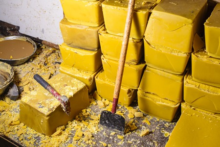 beeswax: Blocks of beeswax for candle making. Stock Photo