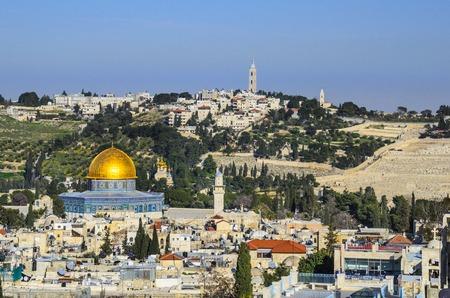 Jeruzalem, Israël Old City stadsgezicht bij de Tempelberg en de Koepel van de Rots.