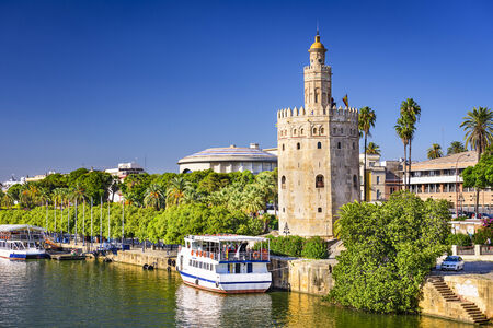 torre: Torre del Oro in Seville, Spain. Stock Photo