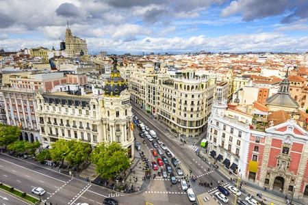 city location: Madrid, Spain cityscape above Gran Via shopping street.