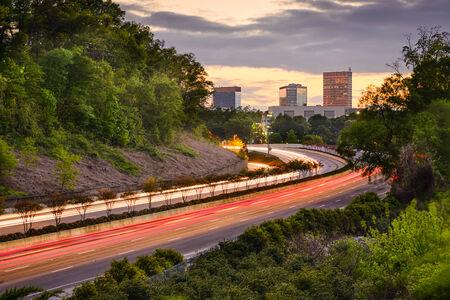 interstate: Greenville, South Carolina cityscape over Interstate 385. Stock Photo