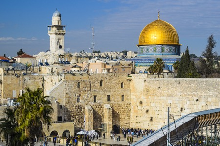 promised: Jerusalem, Israel Old City cityscape at the Temple Mount and Dome of the Rock.