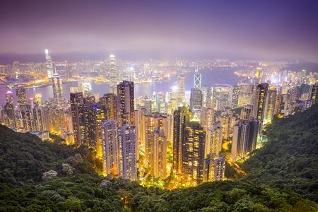 Hong Kong, China city skyline from the Peak.