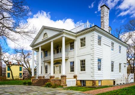 casa colonial: El histórico Morris-Jumel Mansion en Washington Heights, Nueva York, Nueva York, EE.UU.. Editorial