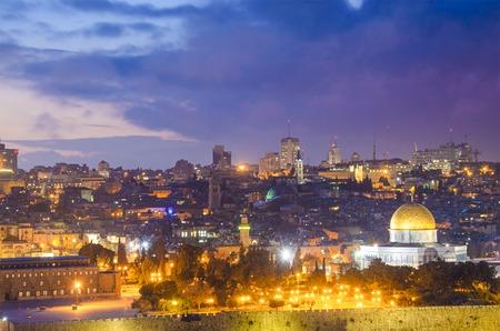 holy night: Jerusalem, Israel old city skyline.