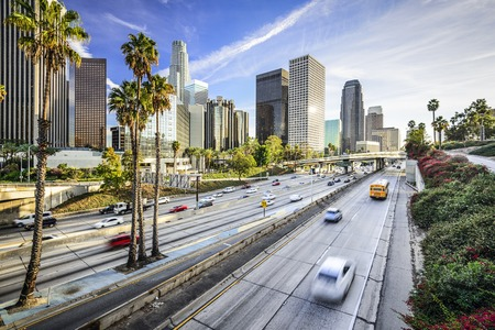 palmier: Los Angeles, Californie, USA paysage urbain du centre-ville.
