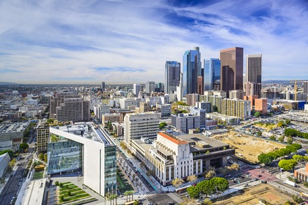 aerial view city: Los Angeles, California, USA downtown cityscape.