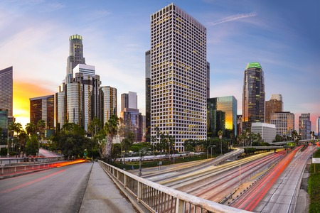 scenic highway: Los Angeles, California, USA downtown cityscape.